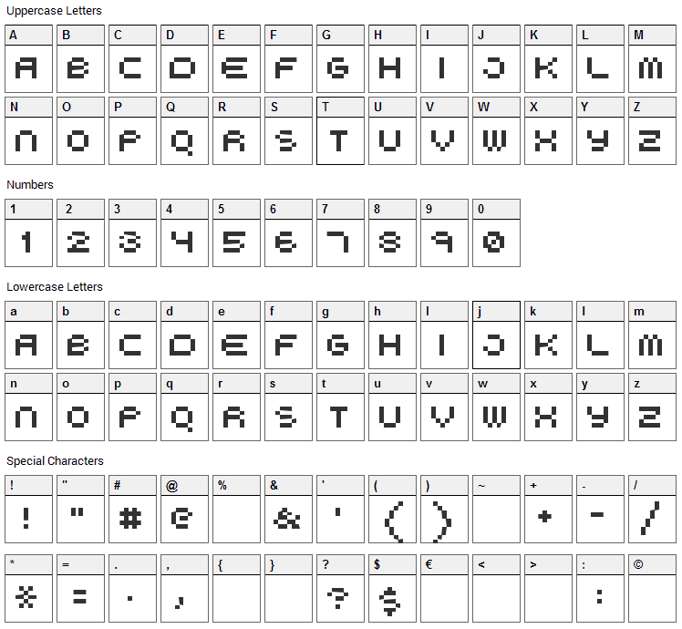 Boo City Font Character Map