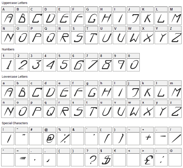 Boo Font Character Map