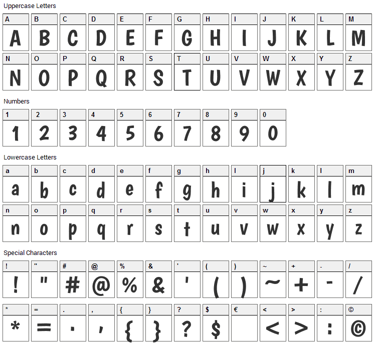 Boogaloo Font Character Map