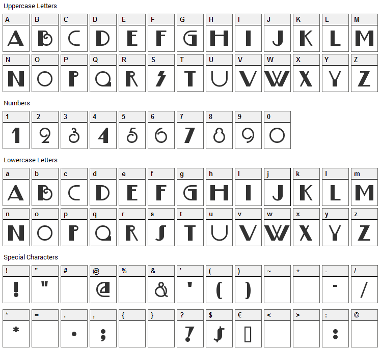 Boogie Nights Font Character Map