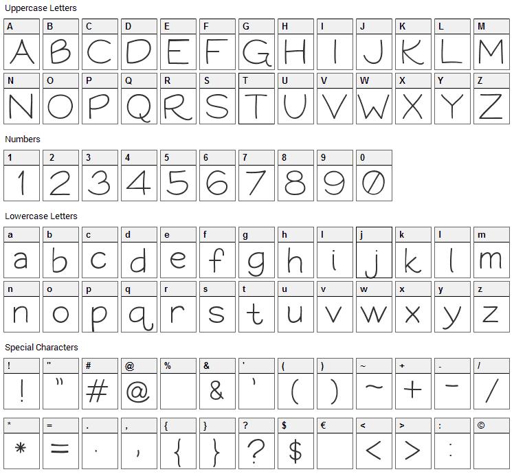 Bookworm Font Character Map