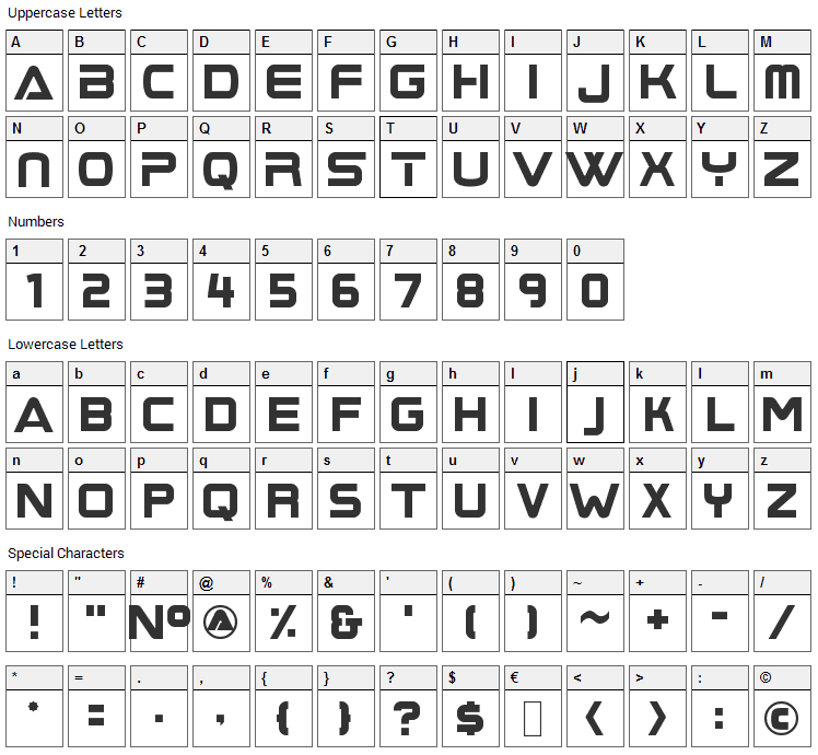 Boom Box Font Character Map