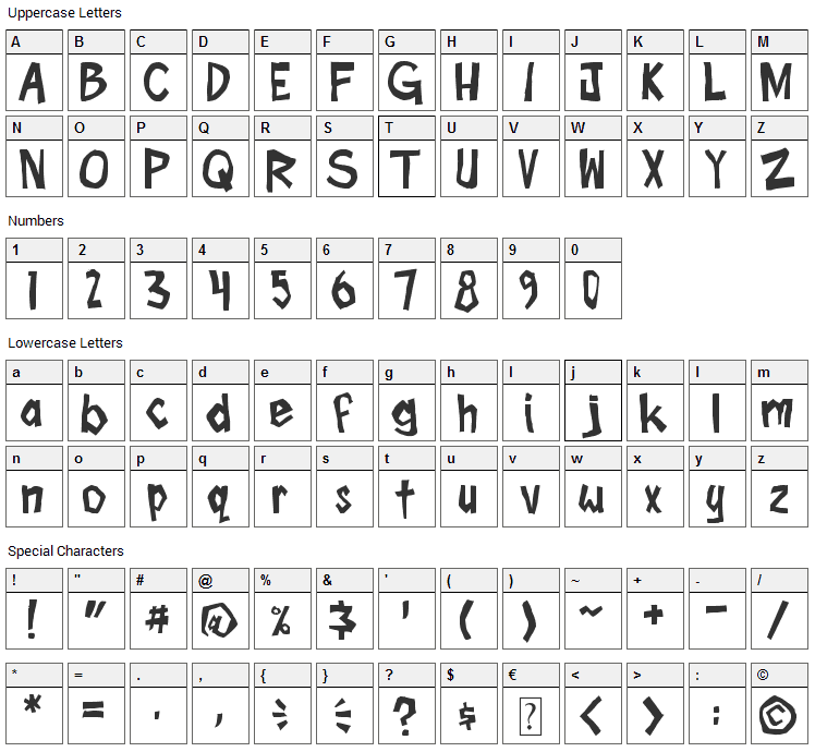 Boom Tank Font Character Map