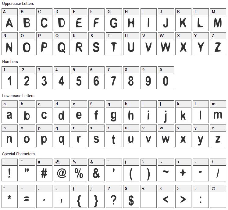 Boomerang Monkey Font Character Map