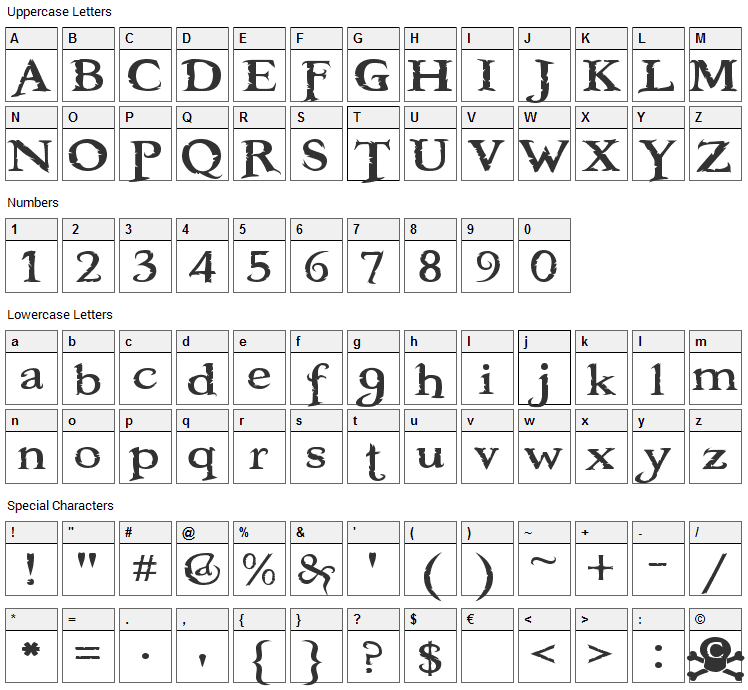 Booter Font Character Map