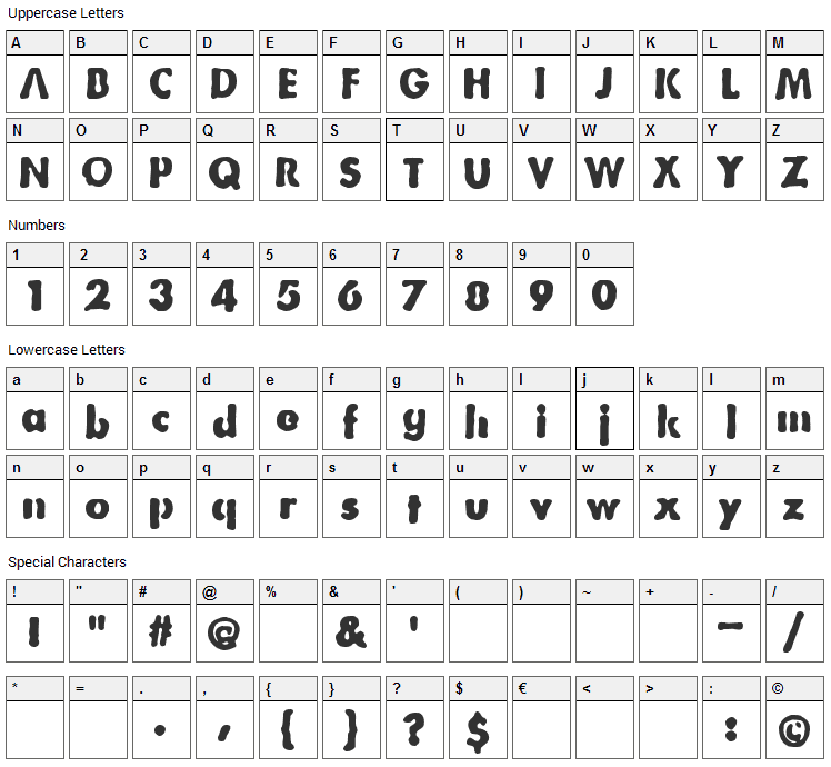 Bootleg Letters Font Character Map