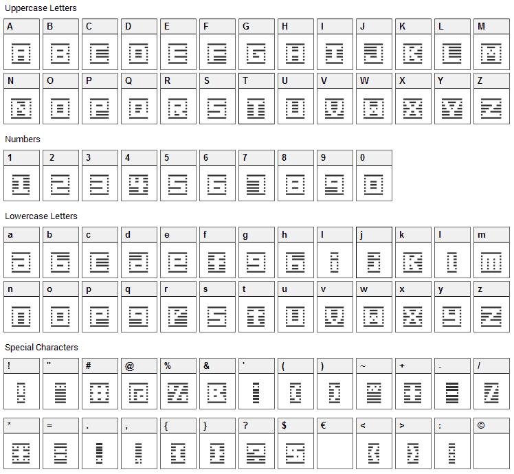 Border 7 Font Character Map