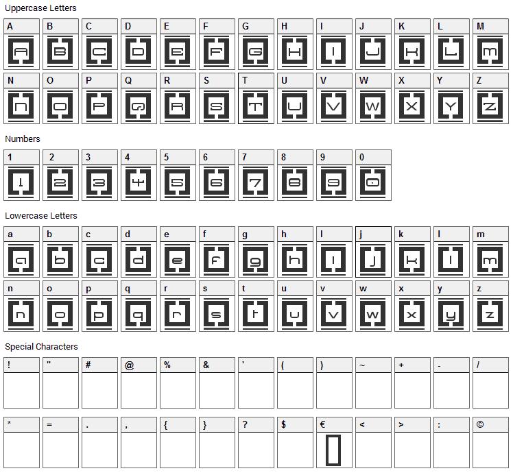 Border Base Future Font Character Map