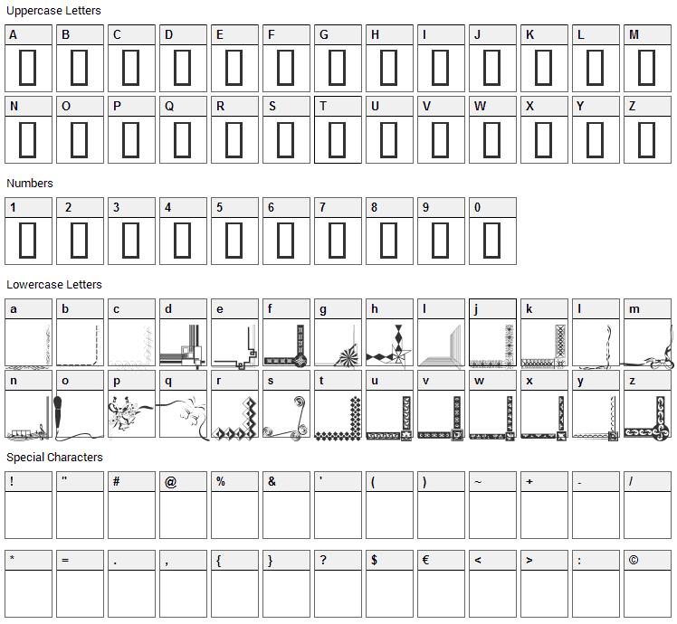 Border Corners Font Character Map