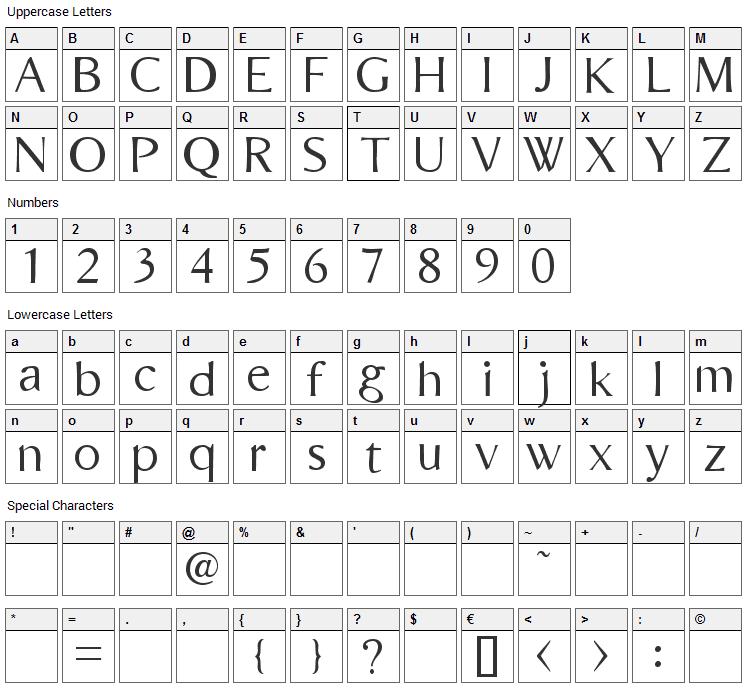 Bordini Font Character Map