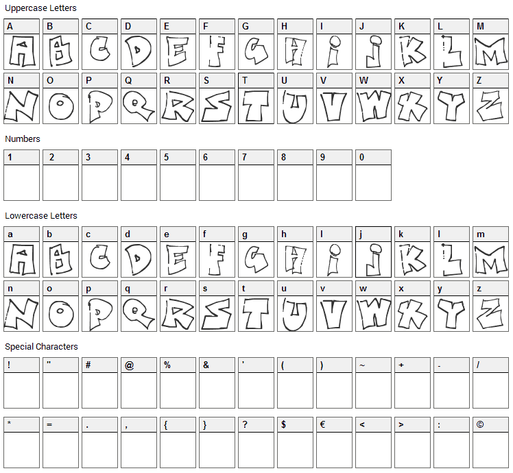 Bored Schoolboy Font Character Map