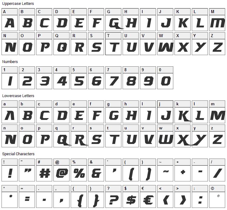 Borgsquad Font Character Map