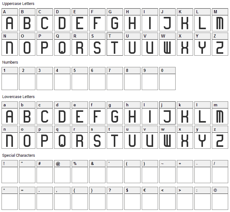 Boring Font Character Map
