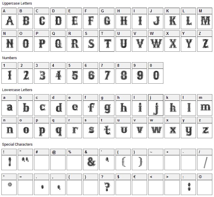 Bosox Font Character Map