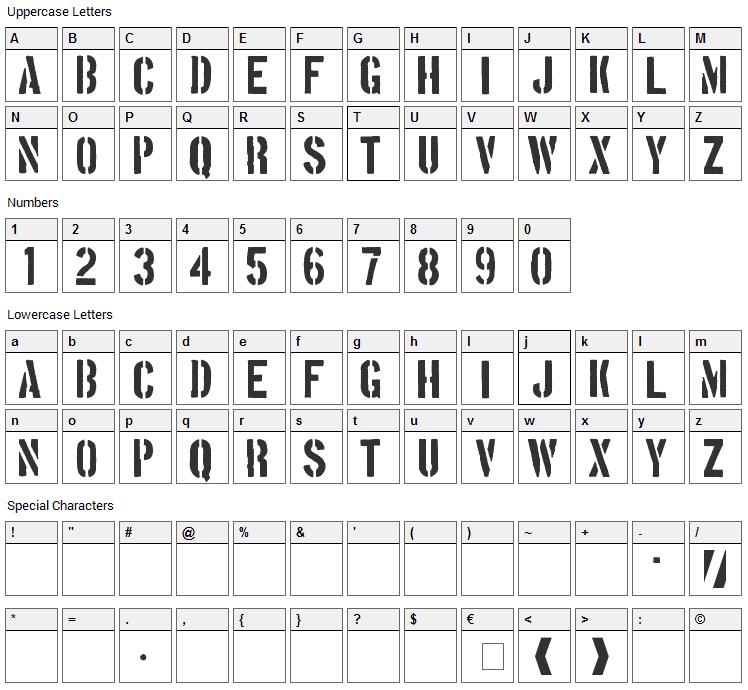 Boston Traffic Font Character Map