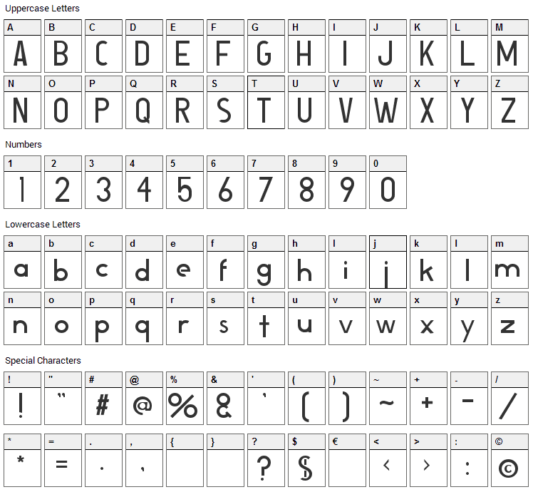 Bosworth Font Character Map