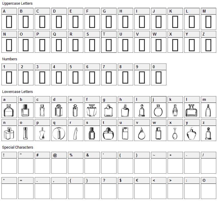 Botellas 2004 Font Character Map