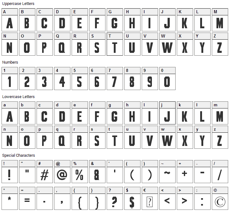 Bou Collegiate Font Character Map