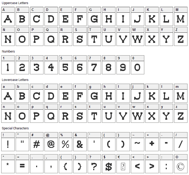 Bou Western Font Character Map