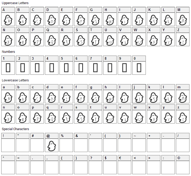 Bouh Bouh Font Character Map