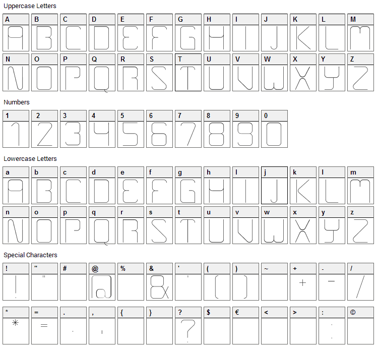 Boulder Font Character Map