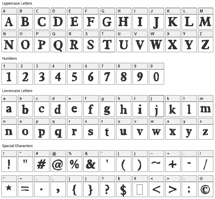 Bountiful Font Character Map