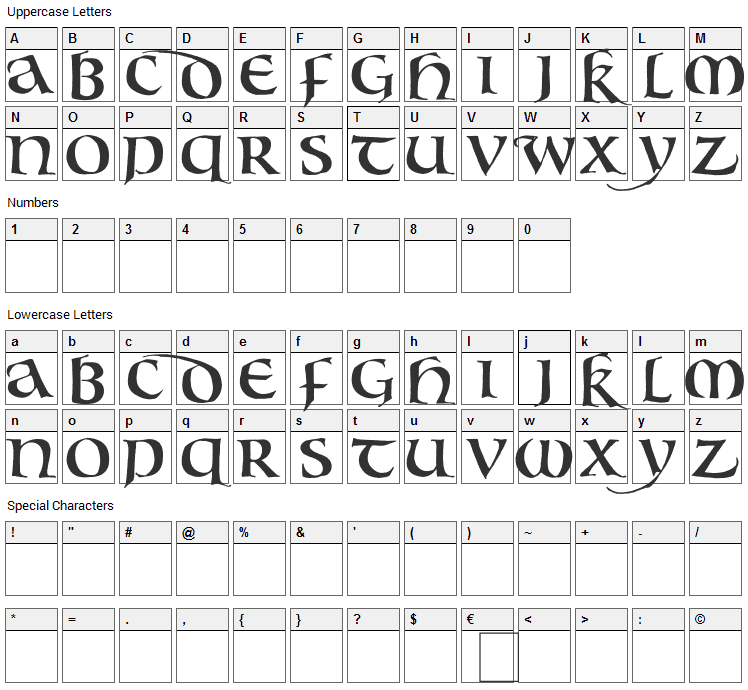 Bouwsma Uncial Font Character Map
