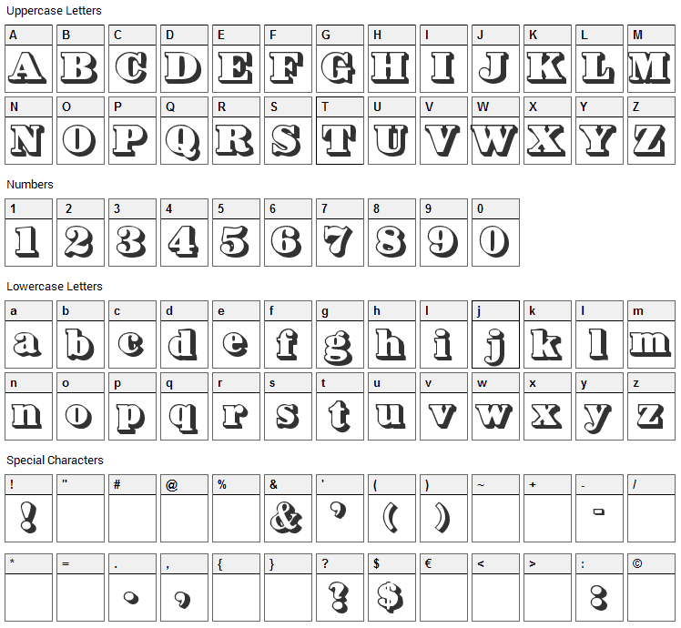 Bower Shadow Font Character Map