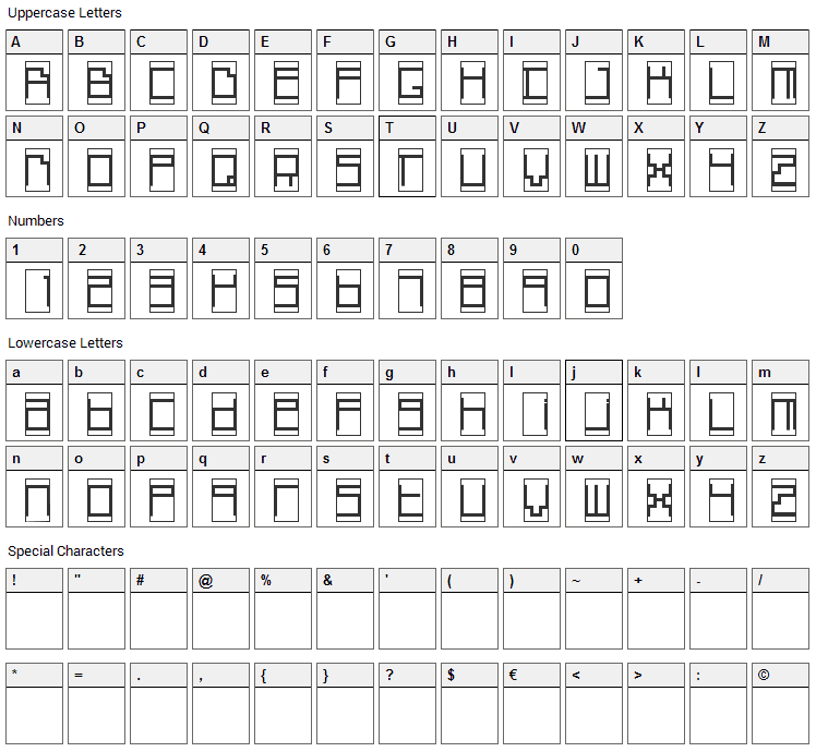 Box Top Font Character Map