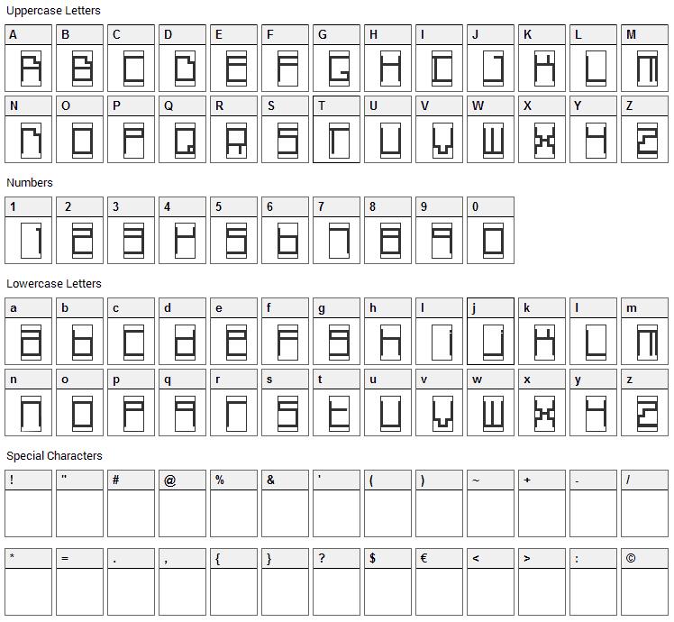 Box Top Font Character Map