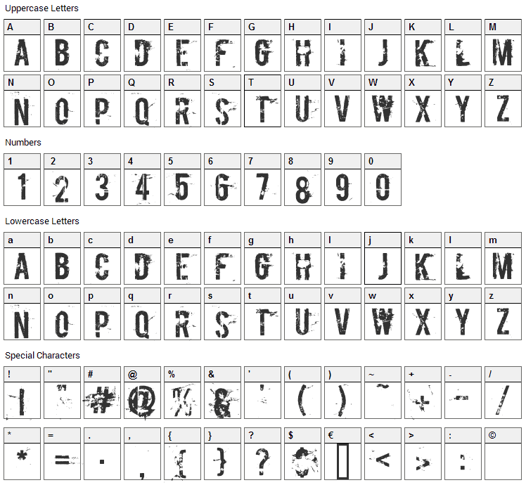 Boycott Font Character Map