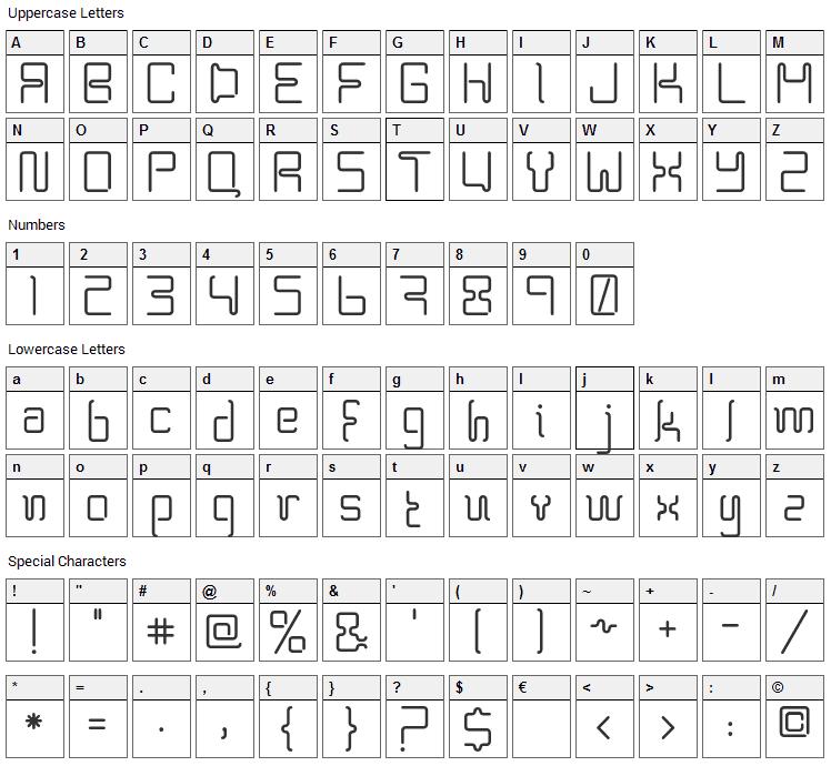 BPneon Font Character Map
