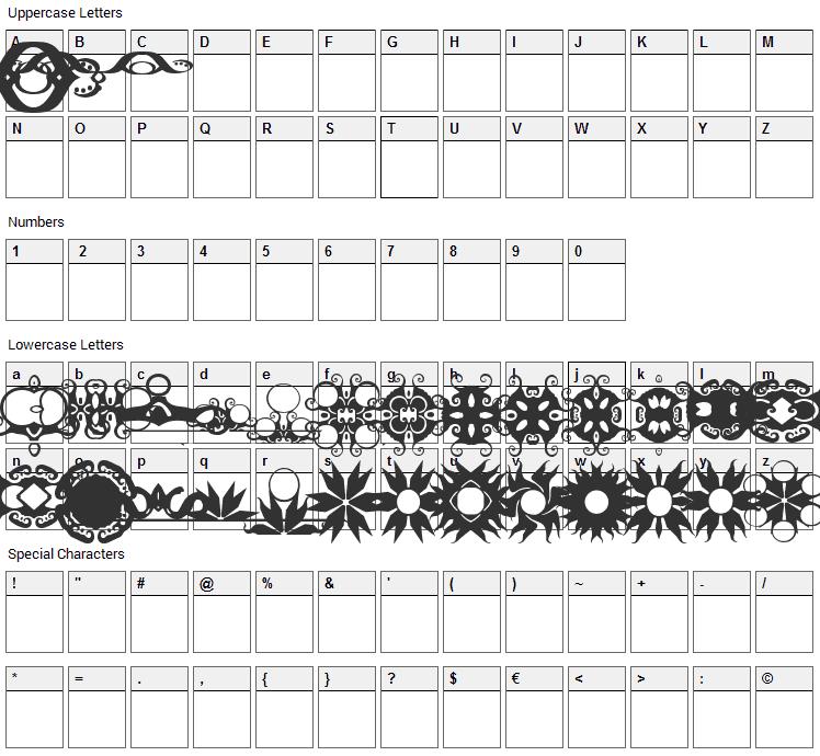 BR Turkles Revenge Font Character Map