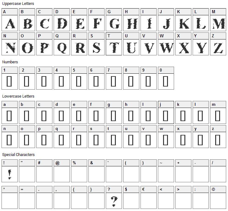 Brackish Font Character Map