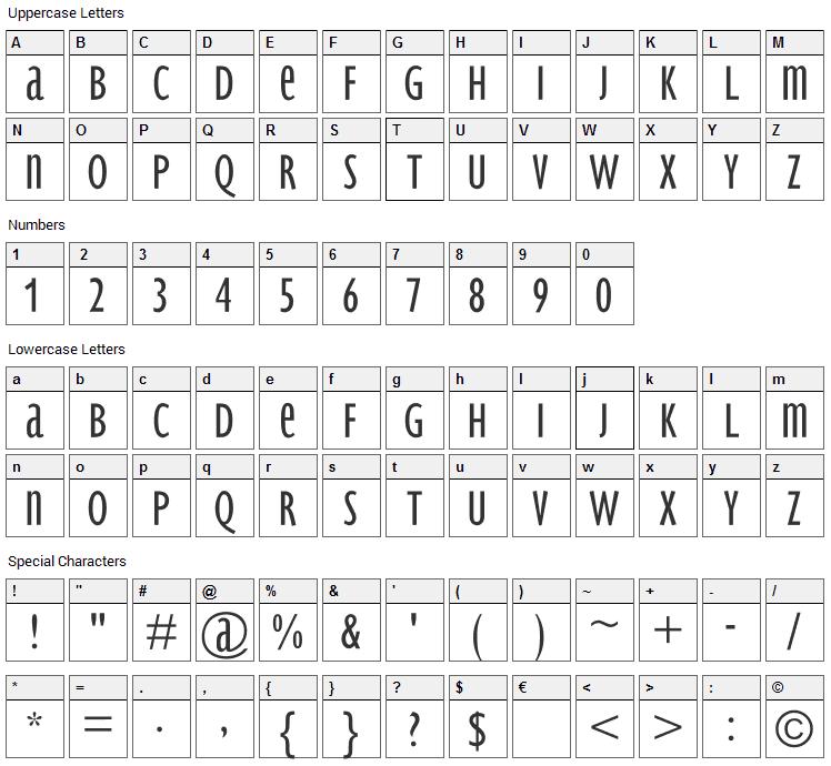 BradburySans Light Font Character Map