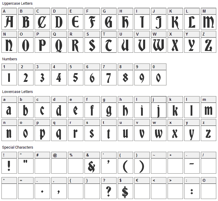 Bradley Gratis Font Character Map