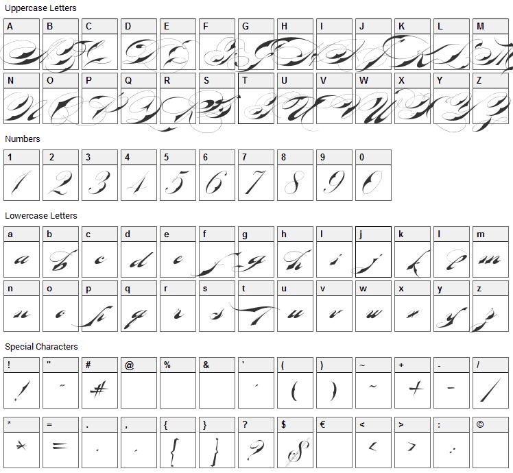 Bradstone-Parker Script Font Character Map