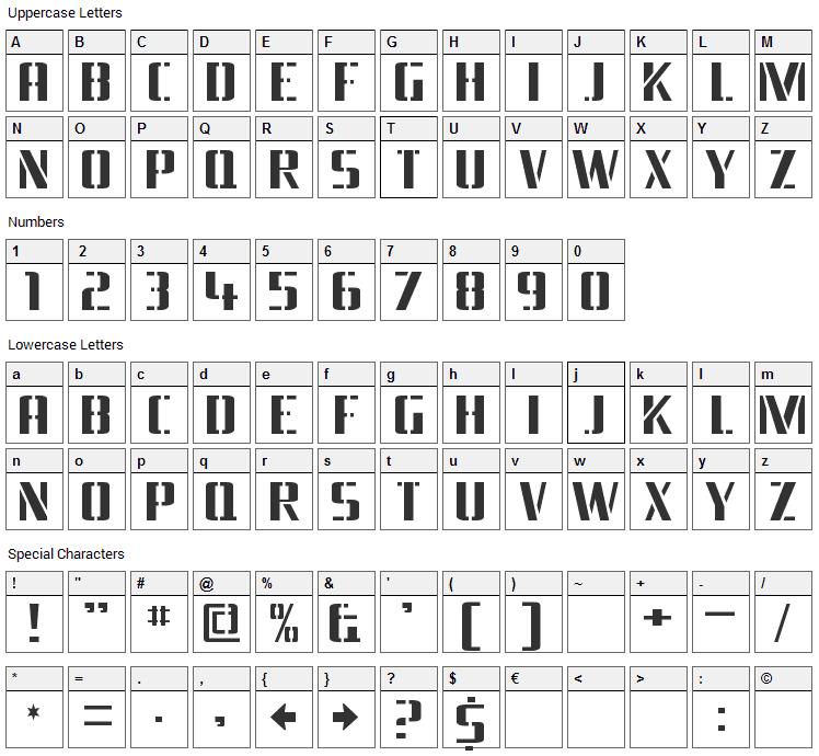 Braeside Font Character Map