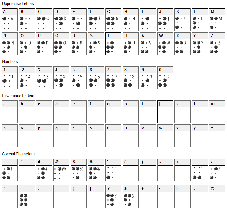 Braille Latin Font Character Map