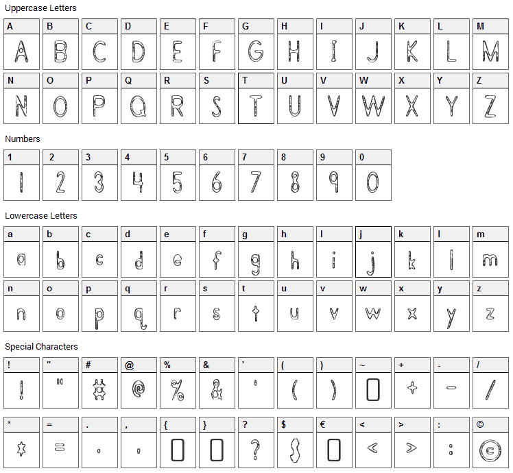 Bramalea Beauty Font Character Map
