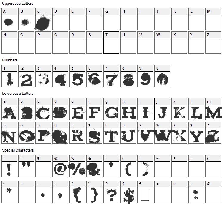 Brand New Burn Font Character Map
