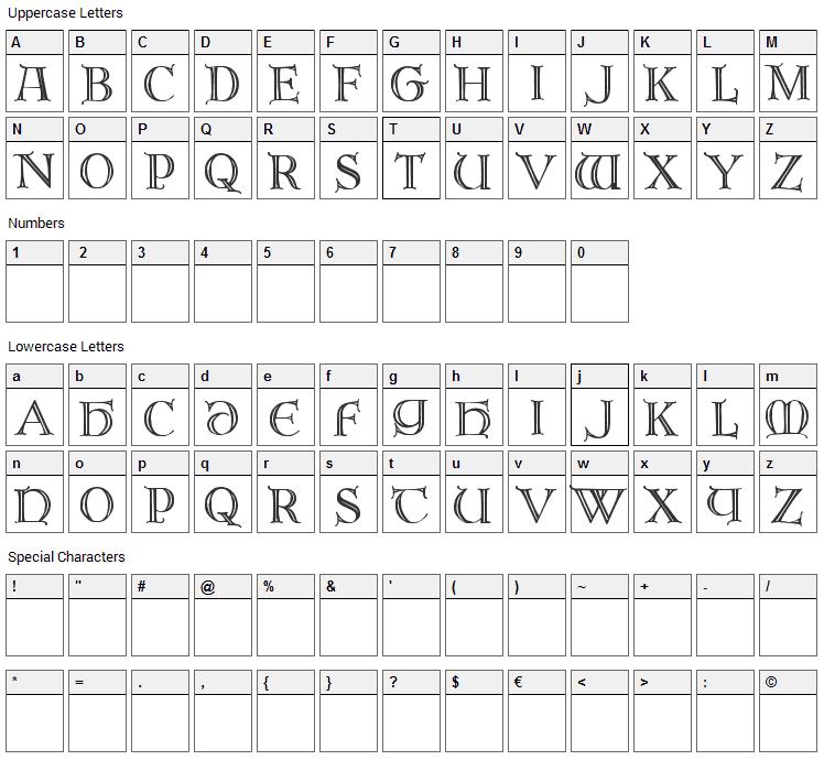 Brandegoris Font Character Map