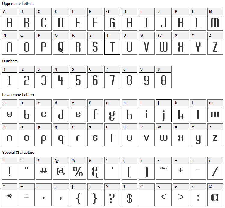 Brassiere Font Character Map