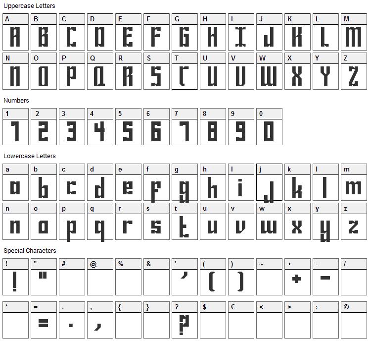 Bravado Font Character Map