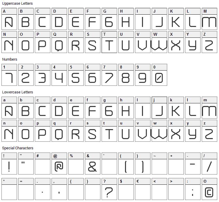Break Font Character Map
