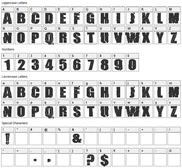 Break It Font Character Map