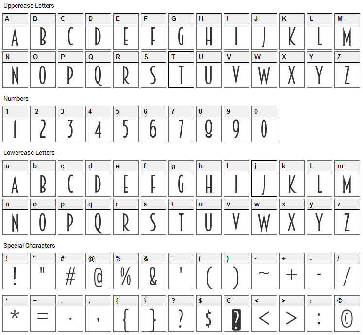 Breamcatcher Font Character Map