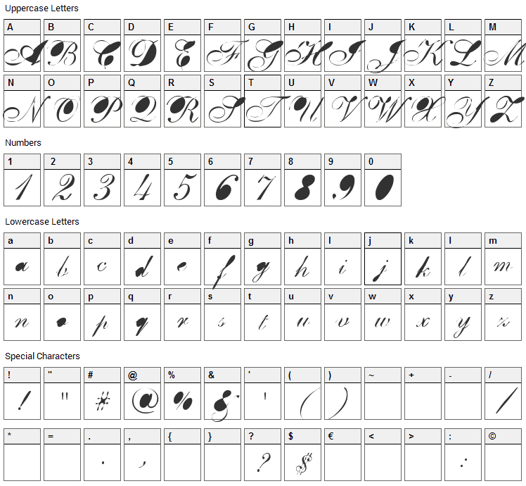 BreastBomb Font Character Map