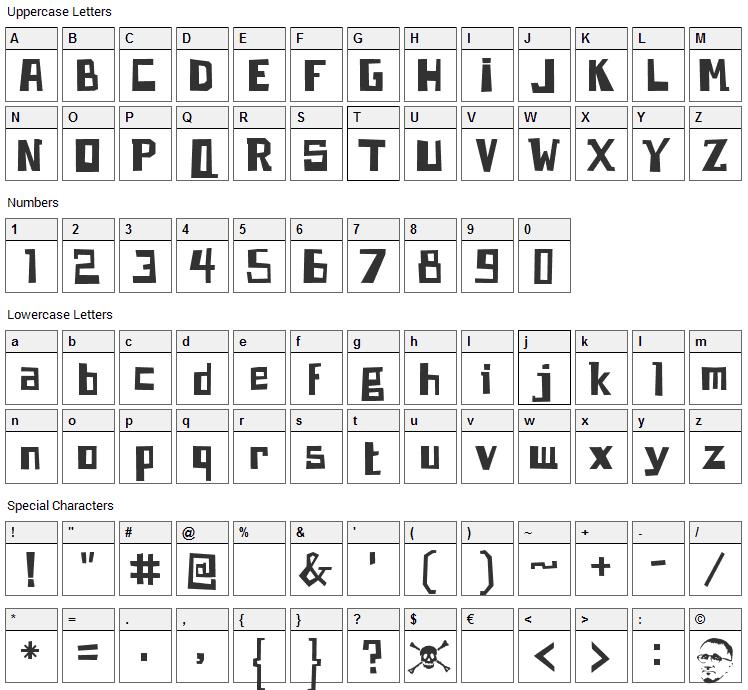 Brecht Font Character Map