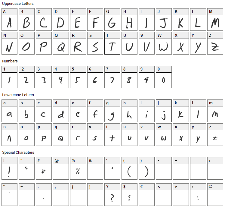 Brian Scratch Font Character Map